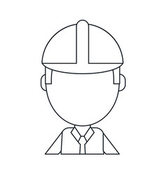Business man construction helmet thin line vector