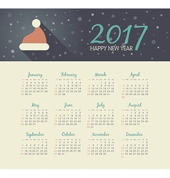 Calendar 2017 year with christmas hat vector