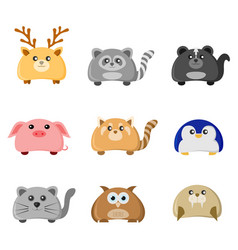 Cute animal character set vector