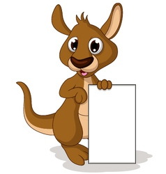 cute baby kangaroo cartoon holding blank sign vector image vector image