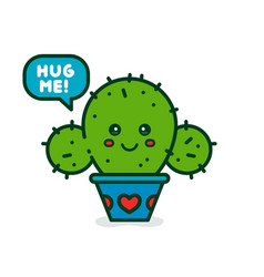 cute smiling happy cactus say hug me vector image vector image