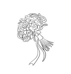 doodle bridal bouquet vector image