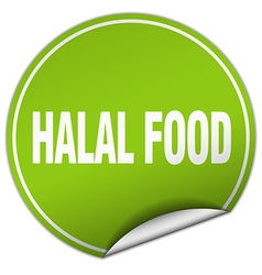 Halal food round green sticker isolated on white vector