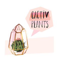 Hand drawn abstract succulent plant vector