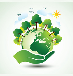 hands earth vector image vector image