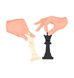 Hands holding chess pieces chess single icon in vector