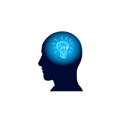 head with light bulb in brain brainstorm thinking vector image
