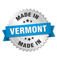 Made in vermont silver badge with blue ribbon vector