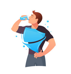 man is drinking water protection of the body vector image