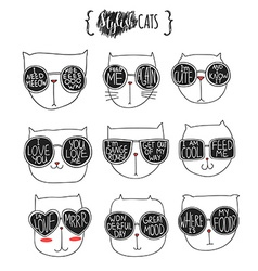 Set of cute doodle cats in glasses Sketch cat vector image vector image