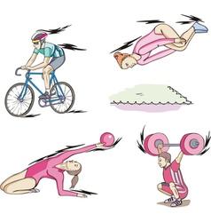 Sports cycling rhythmic gymnastics trampoline and vector