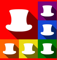 Top hat sign set of icons with flat vector