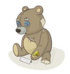 torn beggar teddy bear vector image vector image