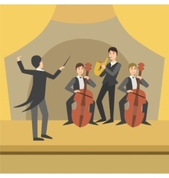 Trio with saxophone and two cellos their director vector