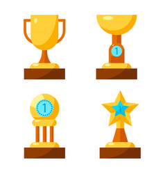 trophy golden awards collection of four cups on vector image