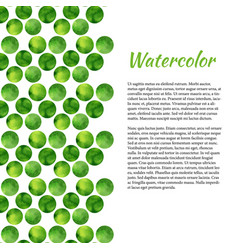 watercolor background with green circles abstract vector image