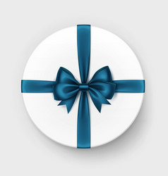 White box with blue satin bow and ribbon vector