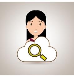 woman cartoon search cloud vector image