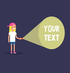 Young blond girl holding a flashlight your text vector