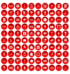 100 events icons set red vector
