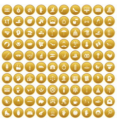 100 joy icons set gold vector