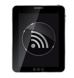 Glass rss button icon on abstract tablet vector