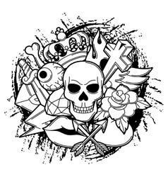 Print with retro tattoo symbols cartoon old vector