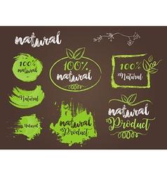 Natural bio badge logo vector