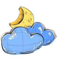 Two clouds and moon weather icon vector image