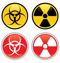 biohazard and radioactive warning signs vector image