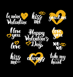 happy valentines day hand drawn quotes vector image