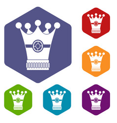Medieval crown icons set hexagon vector