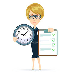 Woman holding an agreement and clock vector