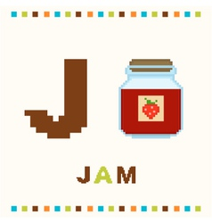 alphabet for children letter j and jam vector image