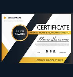 Yellow black elegance horizontal certificate with vector