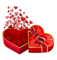 red heart box with hearts vector image