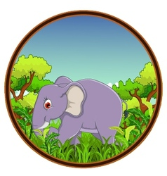 Elephant with forest background vector