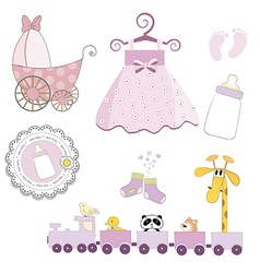 Baby girl items set isolated on white background vector