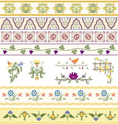 Floral dividers borders and trim vector