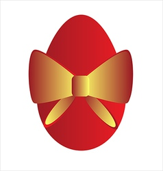 Easter egg with gold bow vector
