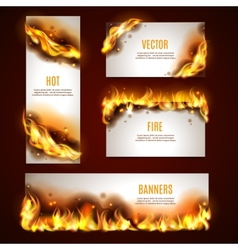 Hot fire banners set vector