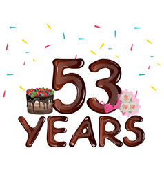53 years birthday design for greeting cards vector image vector image