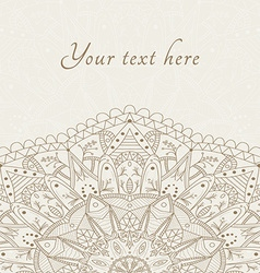 Abstract floral henna indian mehndi card with text vector