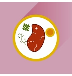 Flat with shadow icon steak on plate vector