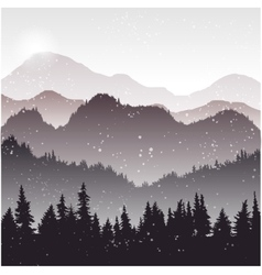 Landscape with fir trees and snow vector