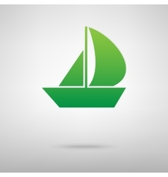 Sail boat green icon vector
