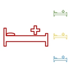 Hospital sign set of line icons vector