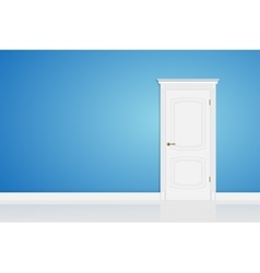 Blue abstract 3d geometrical design door in vector