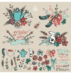 Doodle floral group hand sketched decor set vector