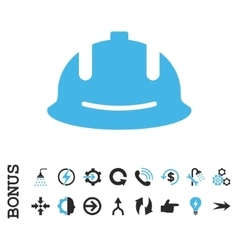 Construction helmet flat icon with bonus vector